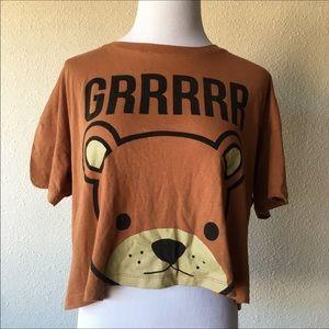 Forever 21 teddy bear crop top tshirt